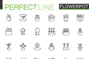 Flowers in pots line icons set