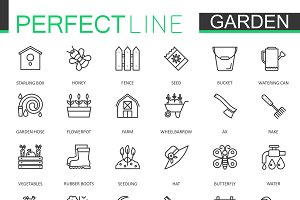 Gardening and flower line icons set
