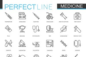 Medical & healthcare line icons set