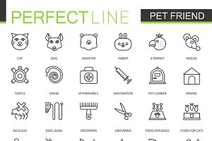 Pet friend store line icons set