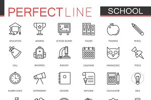 School education line icons set