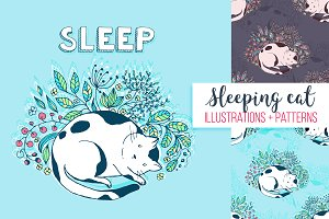 Cats illustration set + patterns
