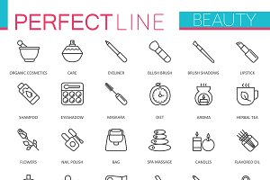 Spa Beauty cosmetic line icons