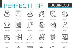 Business thin line icons set