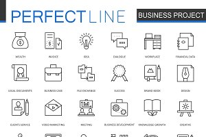 Business project thin line icons set