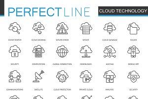 Cloud data technology line icons set
