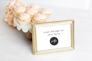 Dessert Sign in Gold Frame Mockup