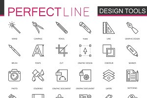 Graphic design tools line icons