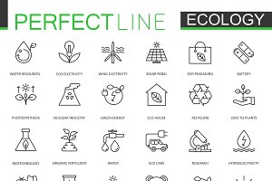 Ecology green thin line icons set