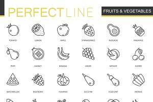 Fruits Vegetables line icons set