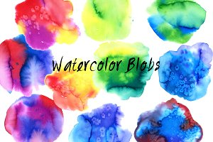 36 colorful watercolor space blobs