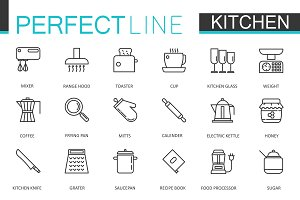 Cooking & kitchen line icons set