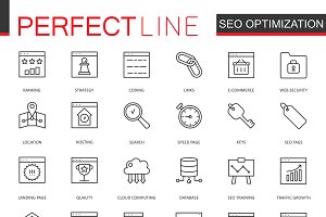 SEO technology line icons set