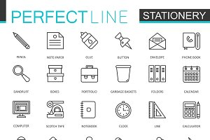 Office stationery line icons set