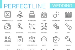 Wedding thin line icons set