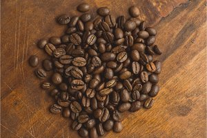 Brown coffee beans in circle shape
