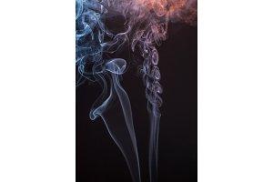 Beautiful smoke on the black