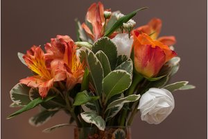 Brides bouquet with colorful flowers
