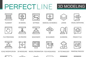 3d modeling printing thin line icons