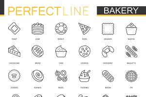 Bakery pastry thin line icons