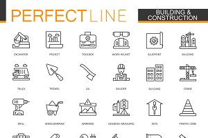 Building construction line icons set