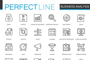 Business analytics line icons set