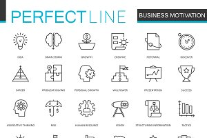 Business motivation line icons set