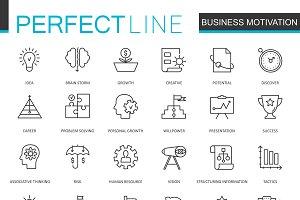 Business motivation line icons set