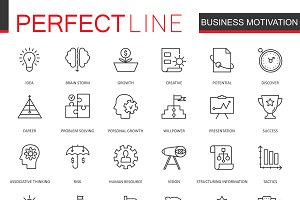 Business discipline line icons set