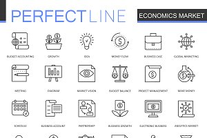 Economics market line icons set