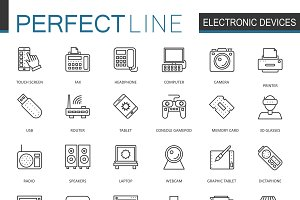 Electronic device line icons set