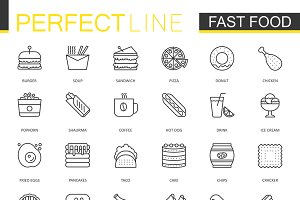 Fast food thin line icons set