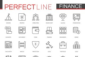 Business finance line icons set