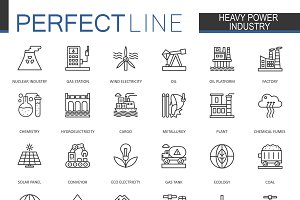 Heavy power industry line icons set