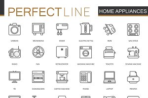 Home appliances household line icons