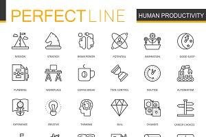 Human productivity line icons set