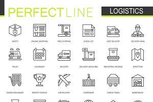 Logistics transportation line icons