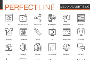 Media Advertising line icons set