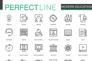 Modern education line icons set
