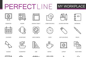 Office workspace line icons set