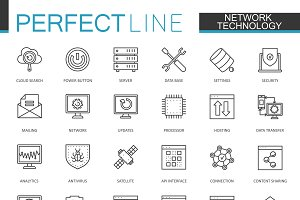 Network technology line icons set