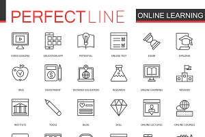 Online education line icons set