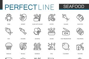 Seafood fish food line icons set