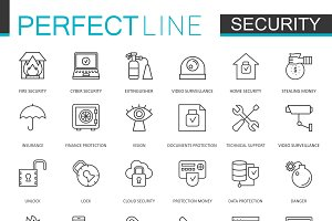 Security protection line icons set