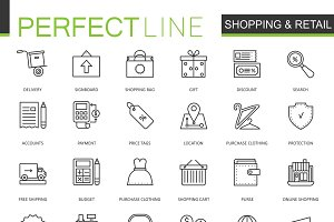 Shopping and retail line icons set
