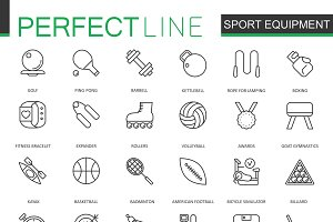 Sport equipment line icons set