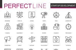 Startup development line icons set