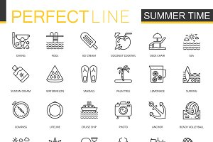 Summer time thin line icons set