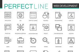 Web development thin line icons set