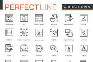 SEO development thin line icons set